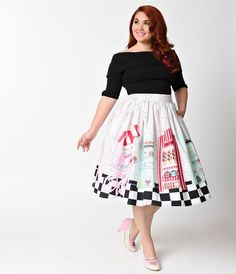 OWN IT Unique Vintage Plus Size 1950s Candy Shop High Waist Circle Swing Skirt