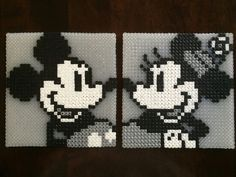 Classic B/W Mickey and Minnie - Disney Perler Beads Made by Daniel Nasiatka