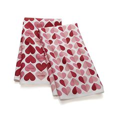 Set of 2 Valentine Heart Dish Towels | Crate and Barrel