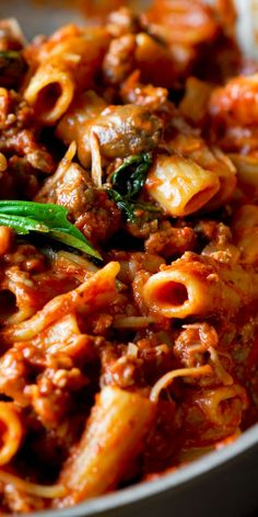 Creamy Sausage and Mushroom Pasta Bolognese with creamy sauce made with tomatoes, basil, and vodka
