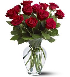 $59.95 Celebrate your passion with fiery red roses from violetsflorist.net. A dozen red roses arrive perfectly arranged in a clear glass vase. Orientation: All-Around As Shown : 12RDROSE