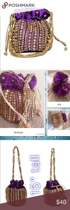Purple and gold party bag It's a trendy party bag from India . With beautiful beads detailing in golden . Perfect   for night out or a Dinner party . It has a tie knot to open and closet with beaded handle . Ask me any Q u have before u buy . Bags Mini Bags