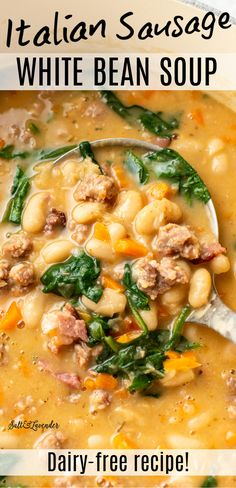 Bean And Sausage Soup, Sausage Stew, Italian Sausage Recipes, Grilled Italian Sausage, Cannellini Bean Soup Recipe, Recipe For Bean Soup, White Bean Soup, White Bean Chilli, White Beans