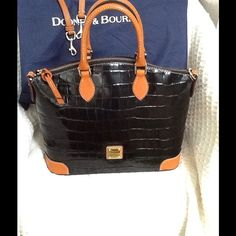 "Dooney & Burke purse Dooney & Bourke black croco leather with detachable shoulder /cross body strap purse in excellent condition , comes with original dust bag . W 13"" D7"" H11"" with out handle with bag .  ,firm price Dooney & Bourke Bags Satchels"