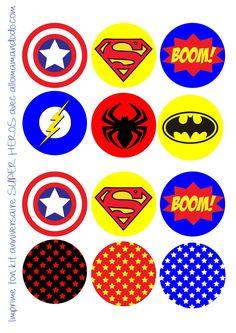 Fiesta de Cumpleaños de Super Héroes: Etiquetas, Banderitas, Wrappers y Toppers para Cupcakes para Imprimir Gratis.