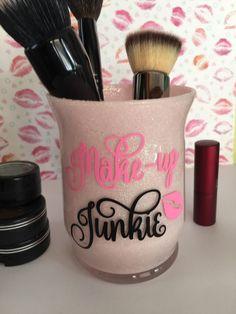 Makeup Brush Holder, Makeup Brush Cup, Bathroom Vanity Makeup, Glitter Makeup Brush Holder, Teen Gift, For Her Gift, Makeup Junkie by SusansCraftBoutique on Etsy https://www.etsy.com/listing/466519680/makeup-brush-holder-makeup-brush-cup