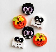 Halloween Friends handmade polymer clay buttons  - 2015 Halloween for Kids