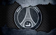Lataa kuva 4k, PSG, metalli-logo, Paris Saint-Germain, Liga 1, logo, grunge, jalkapallo, football club, Ligue 1, art, PSG FC