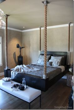 Awesome 46 Affordable Hanging Beds Design Ideas For Unique Bedroom On A Budget Hanging Porch Bed, Hanging Beds, Hanging Chairs, Home Bedroom, Bedroom Decor, Bedrooms, Casa Loft, Floating Bed, Cool Beds