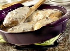 Chicken with cream of chicken soup.  Can use cream of mushroom soup too! Mom used to make this in an electric fryer, sauteeing and the remaining soup was great on mashed potatoes!