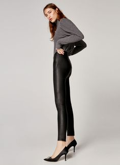 Black nappa leggings - View all - Leather - Ready to wear - Uterqüe Spain - Canary Islands