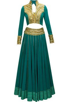 Teal bead embroidered lehenga set with long tail blouse available only in Pernia's Pop-Up Shop.