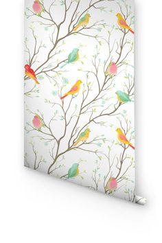 Wallpaper with colorful birds pattern, Removable wallpaper with birds pattern, Colorful birds wall sticker, Bird wallpaper, 176
