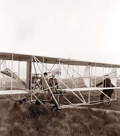 """First Flight The world changed at 10:35 AM, on December 17, 1903 on the north side of Kill Devil Hill, Kitty Hawk, North Carolina. It was at that moment that the Wright Brother's """"Wright Flyer"""", with Orville Wright at the controls, lifted off in sustained, controlled flight. This first heavier-than-air flight traveled a mere one hundred twenty feet, and lasted only twelve seconds. #norestrictions"""