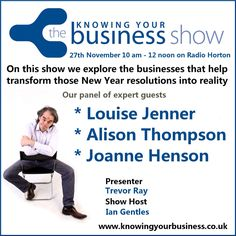 Listen to my live interview here:  http://knowingyourbusiness.co.uk/27th-november-2014-knowing-your-business-show/