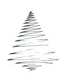 Minimalistic black and white Christmas card, Christmas Tree line drawing illustration