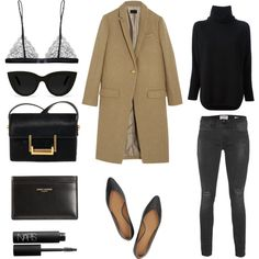 Spring Fever by fashionlandscape on Polyvore featuring polyvore, fashion, style, Chloé, J.Crew, Frame Denim, Maison Close, Yves Saint Laurent, Quay and NARS Cosmetics camel coat and black turtleneck