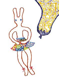 Original Watercolor Painting 5X7, A Ballet Bunny and A Eggplant by Itsuka Hiraga