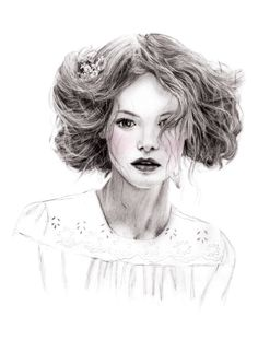 Fashion illustration - pretty fashion portrait drawing // Sheryl Young