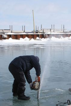 Ice Harvesting from lake