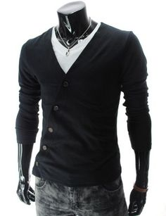 Mens Slim Fit Unbalanced Button Knit Cardigan