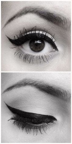 Winged eyeliner:: Pin Up Makeup:: Retro Eyeliner:: Perfect Wing Tips