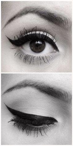 Winged eyeliner:: Pin Up Makeup:: Retro Eyeliner:: Perfect Wing Tips