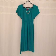 Merona Dress!! Green Rayon and Spandex Dress!! Is knee length. Comes with a green belt! This dress is perfect for spring!!!  Merona Dresses