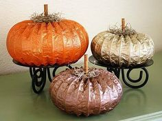 Glitter Spray Paint and some dryer vent hose!  Very Pinteresting!! Love these sweet pumpkins... ♥~ Junktion Alley http://adiamondinthestuff.com/2011/09/glitter-dryer-vent-pumpkins.html