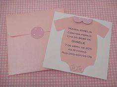 Convite para chá de bebê menina com envelope e lacre. R$ 5,00