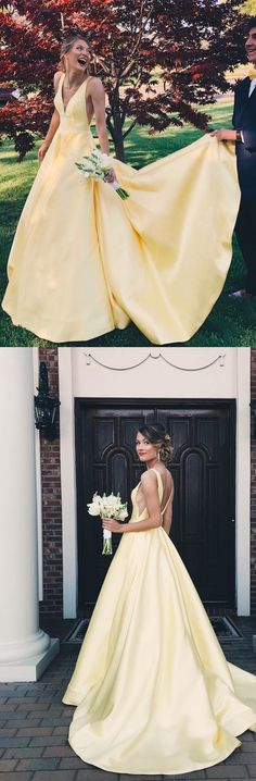 Charming A Line V Neck Backless Yellow Satin Wedding Dresses, Formal Prom Dresses with Pockets