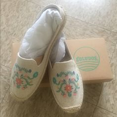 SOLUDOS Mexican Floral Embroidery Espadrilles Super cute shoes but runs small. I am wearing 9 and 10 still to tight.  100% cotton canvas upper. Twill lined. Rubber and synthetic sole Light weight : 6oz Rubber Sole by SOLUDOS Soludos Shoes Espadrilles