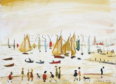L S Lowry Yachts 1959 art print seascape wall art poster Edward Hopper, Salford, Photo To Oil Painting, Painting & Drawing, Mondrian, Klimt, Picasso, Framing Canvas Art, Seascape Art