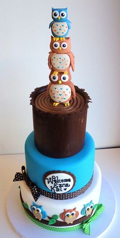 3 owls baby shower #Cake Just adorable! We love and had to share!