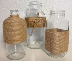 Twine Wrapped Glass Decorative Bottles by KatiesSpecialTouch on Etsy