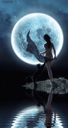 Beautiful Fantasy Art, Beautiful Moon, Dark Fantasy Art, Wolves And Women, Shoot The Moon, Exotic Art, Fantasy Places, Vintage Witch, Witch Art