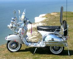 Ace's Vespa scooter - from the movie 'Quadrophenia' here pictured on the clifftop near Brighton on the English southcoast. Piaggio Vespa, Scooters Vespa, Motos Vespa, Lambretta Scooter, Motor Scooters, Mod Scooter, Scooter Motorcycle, Scooter Girl, Scooter Garage