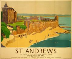 Vintage Travel Poster - Scotland - St. Andrews, golf - Railway