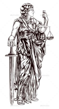 Buy Lady Justice by Krisdog on GraphicRiver. An original illustration of Lady Justice holding scales and sword and wearing a blindfold in a vintage woodblock style Tattoo Deus, Scales Of Justice Tattoo, Arm Tattoos For Women Upper, Tatoo Angel, Heart Tattoo Shoulder, Atlas Tattoo, Owl Tattoo Drawings, Scale Tattoo, Libra Tattoo