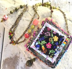 Fabric pendant hippie necklace long beaded chain by crushedcameo