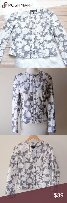"IVONNE Floral Blazer Beautiful textured dark gray and white floral blazer. Zips up. Two small front pockets. UK size 12 is US 8. Lightweight. No fabric tag.    Armpit: 19"" Waist: 17"" Shoulder to Hem: 21""  Instagram: @bringingupsuns Ivonne Jackets & Coats Blazers"