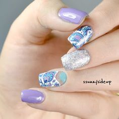 """Negative space nails Items used:  Color Club """"Sugarplum Fairy"""" Nicole by OPI """"Love Song"""" Nicole by OPI """"Poised for Turqouise"""" (also Color Club """"French Tip"""" for the water decal base, forgot to take it on the picture) water decals by bornprettystore nail vinyls"""