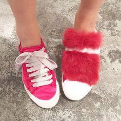 Faye Tsui wearing Pedro García Parson satin sneakers in punch