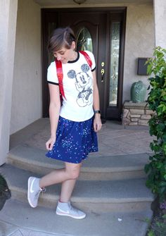 Minnie Polka Dots -- Headed to Disneyland in thrifted polka dot skirt and Disney accessories | Delightfully Kristi #ThriftStyleThursday