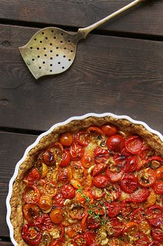 Roasted tomato & scallion tart with a whole wheat cheese crust