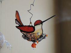 Nesting Hummingbird Stained Glass Suncatcher by i4Glass on Etsy, $35.00
