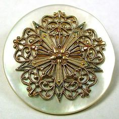 Lg Sz Antique MOP Shell Button w/ Fancy Brass Filigree Floral 1 & 1/2""