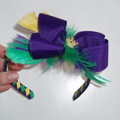Mardi Gras Boutique Bow Woven Headband  by angelhaircreations, $9.00