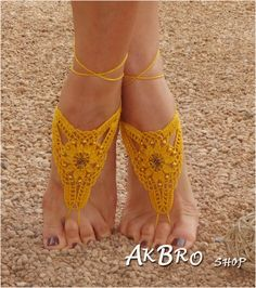 Beach Barefoot Sandals,Yellow Golden Barefoot sandles,Beach Pool,Golden shoes,Foot jewelry, Beaded sandals,Bridal,Beach wedding