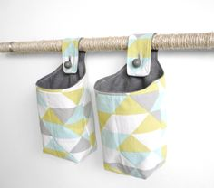Small Fabric Baskets, Mint Yellow and Gray Geometric Hanging Baskets, Storage Solutions. $30.00, via Etsy.